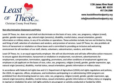 Non-Discrimination Statement & Policy - Least of These Food Pantry, Inc